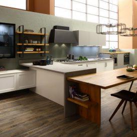Cucina Moderna su una parete 01