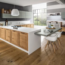 Cucina Moderna su una parete con penisola 03
