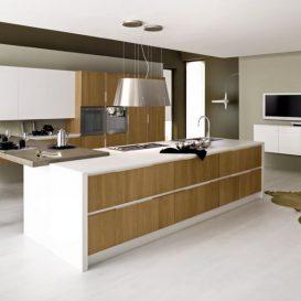 Cucina Moderna su più pareti con penisola 06