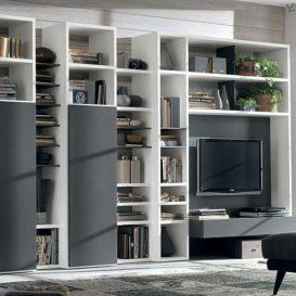 Soggiorno moderno con parete attrezzata e mobile tv a vista 04
