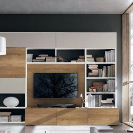 Soggiorno moderno con parete attrezzata e mobile tv a vista 06