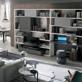 Soggiorno moderno con parete attrezzata e mobile tv a scomparsa 07