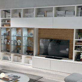 Soggiorno moderno con parete attrezzata e mobile tv 08
